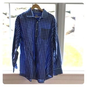 Peter Millar blue check casual button down.